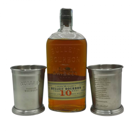 Bulleit Bourbon Whiskey 10 Year Old + 2 bicchieri Bulleit omaggio
